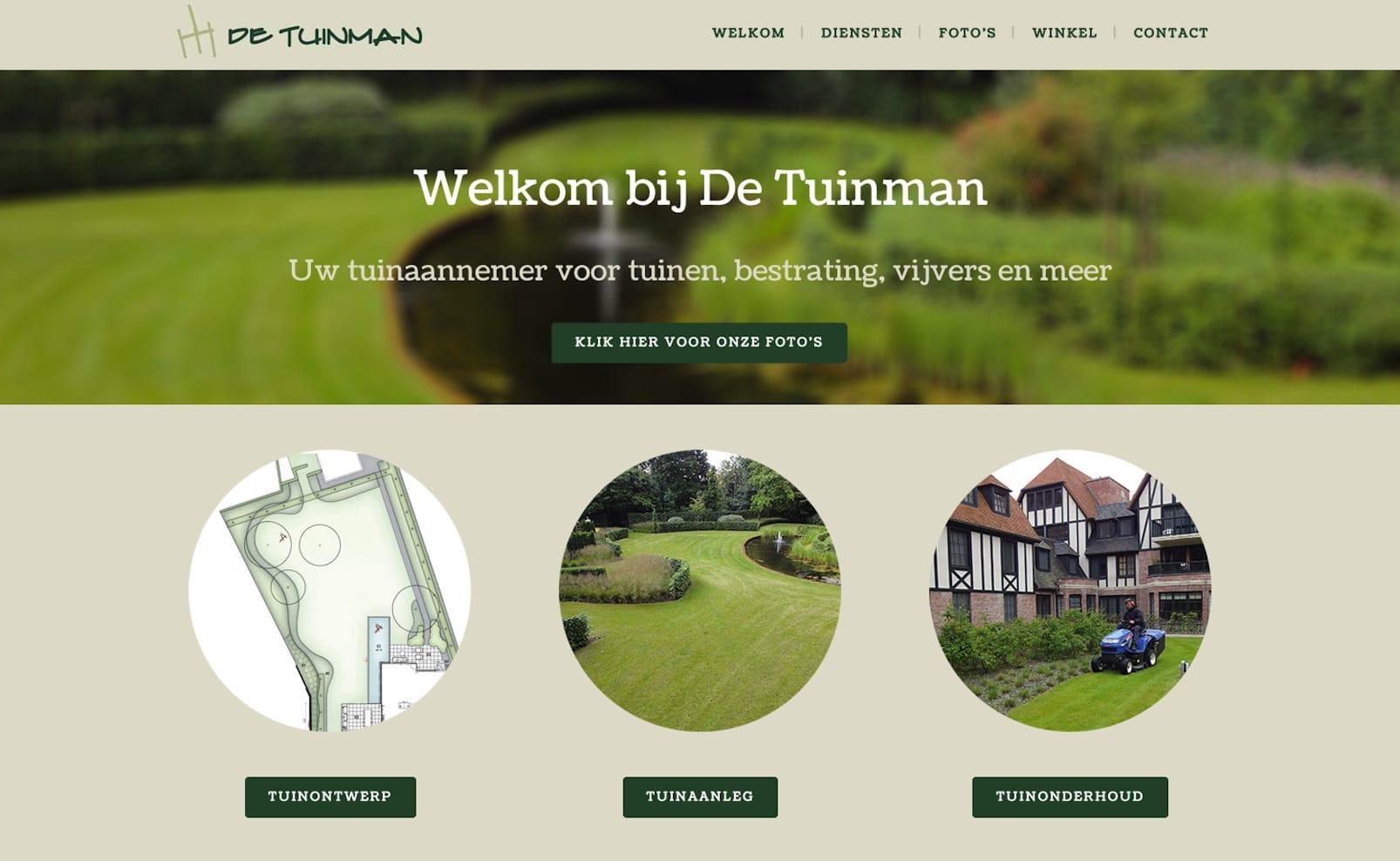 Lincelot Webdesign & marketing - De Tuinman welkom