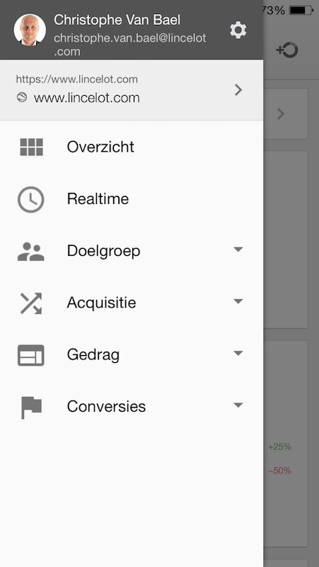 Menu met rapporten in Google Analytics App