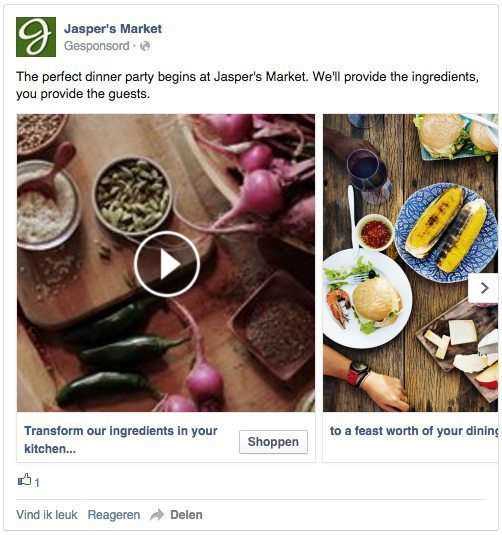 Facebook advertentie - Websiteconversies - Carrousel video