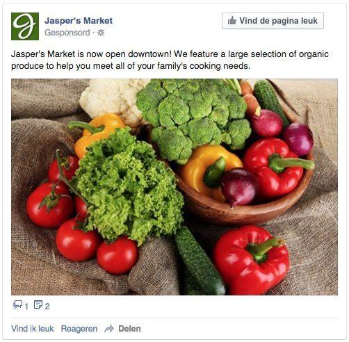Facebook advertentie - betrokkenheid bij paginabericht - foto