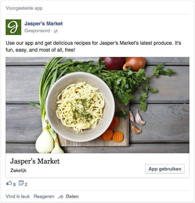 Facebook advertentie - betrokkenheid met app - desktoppapp