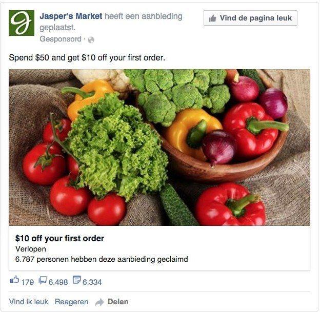 Facebook advertentie - geclaimde aanbiedingen