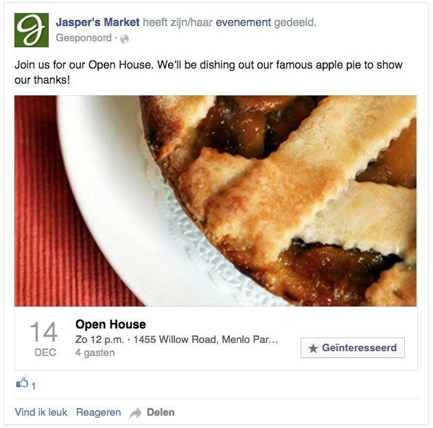 Facebook advertentie - reacties op evenementen