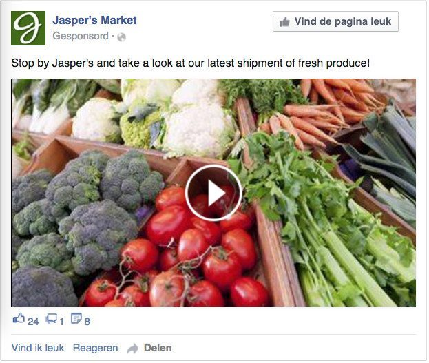 Facebook advertentie - videoweergaven