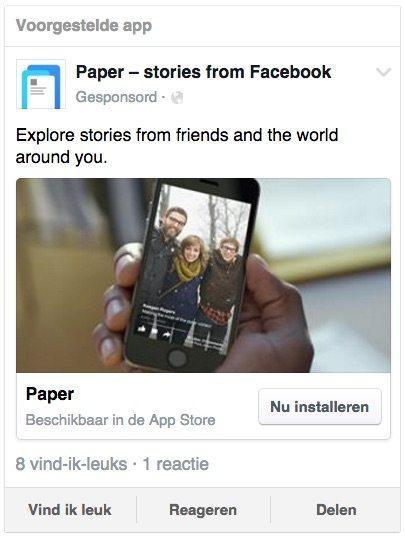 Facebookadvertentie appinstallaties - mobiele instagram app