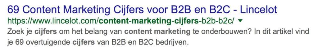 URL tips - 69 content marketing cijfers in vet