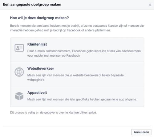 Facebook remarketing - Aangepaste doelgroep - Websiteverkeer - LINCELOT