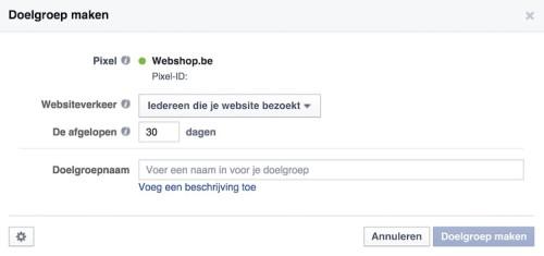 Facebook remarketing - Aangepaste doelgroep maken - websiteverkeer