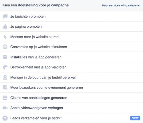 Facebook remarketing - Advertentie maken - Doel kiezen - LINCELOT