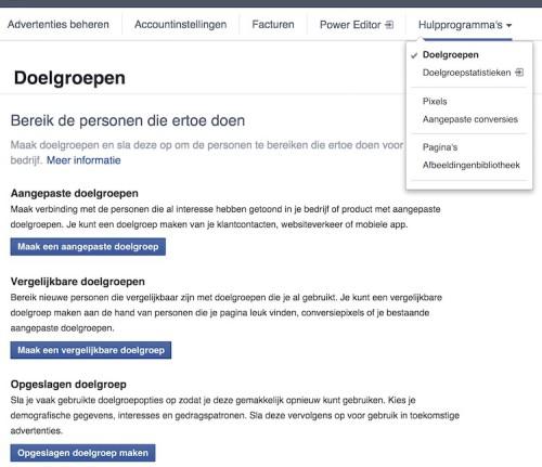 Facebook remarketing - Hulpprogramma's - Doelgroepen - LINCELOT