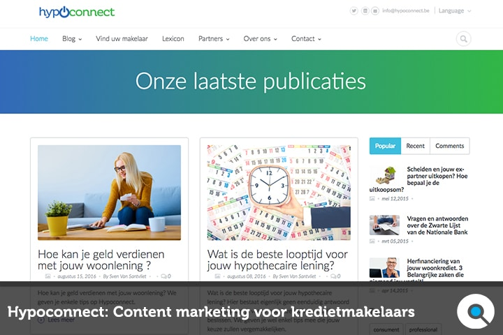 Hypoconnect - Content Marketing voor Kredietmakelaars