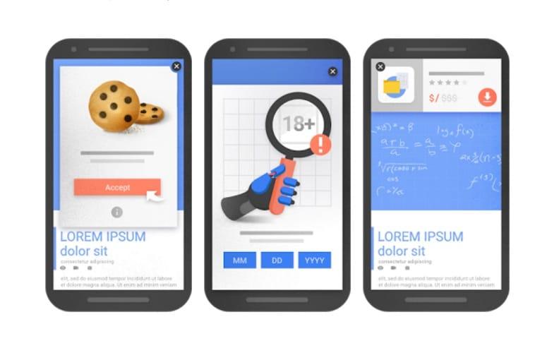 Voorbeelden van pop-ups en interstitials die Google door de vingers ziet