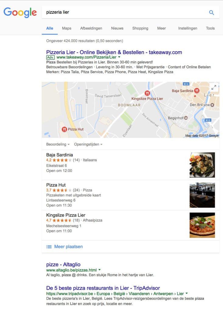 Pizzeria Lier - Lokale SEO - Lincelot