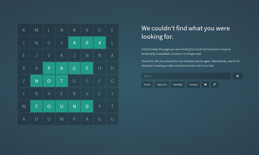 Voorbeeld Error 404 pagina