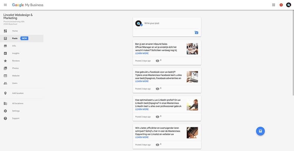 Google Posts - Overzicht - Lincelot