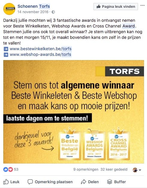 Facebook post idee 30 - Award - Lincelot