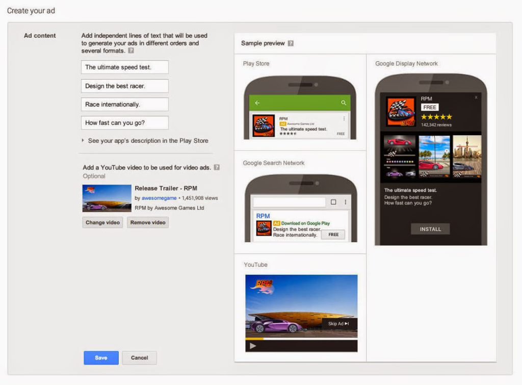 Google AdWords Universal app campagnes