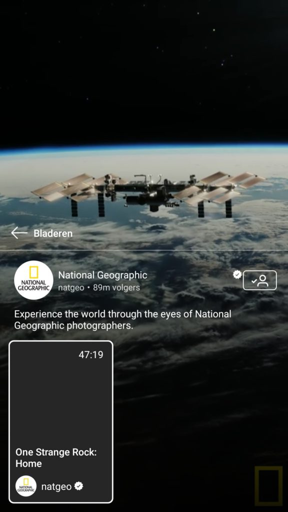 Voorbeeld show IGTV National Geographic - Lincelot