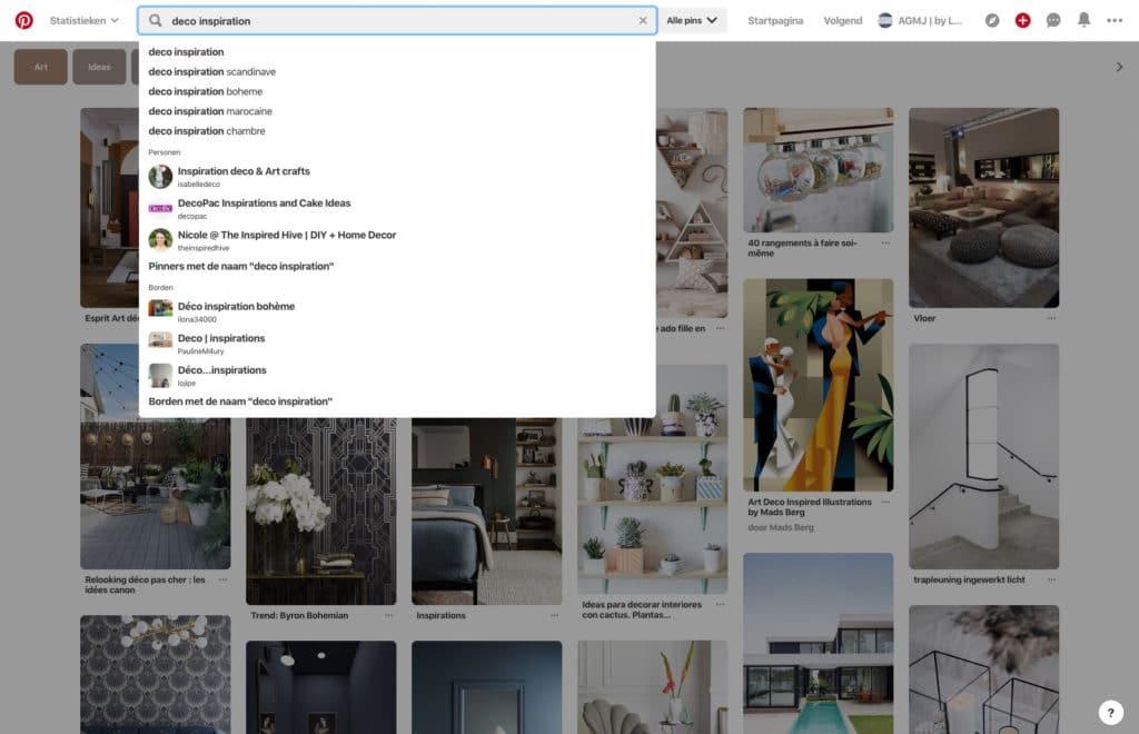Wat is Pinterest en wat zijn de voordelen voor je bedrijf - Voorbeeld Search