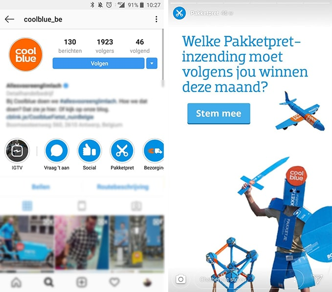Instagram Hoogtepunten - Instagram Highlights - Voorbeeld Coolblue - Lincelot - S
