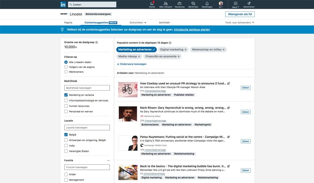 LinkedIn pages - ontdek de nieuwe LinkedIn bedrijfspagina's - contentsuggesties - Lincelot
