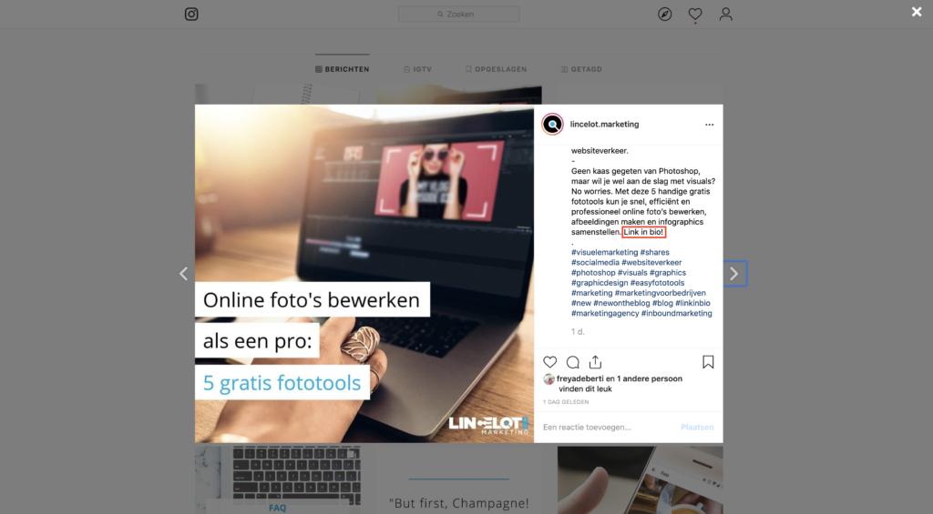 Hoe schrijf je een goede Instagram bio? - link in bio - Lincelot