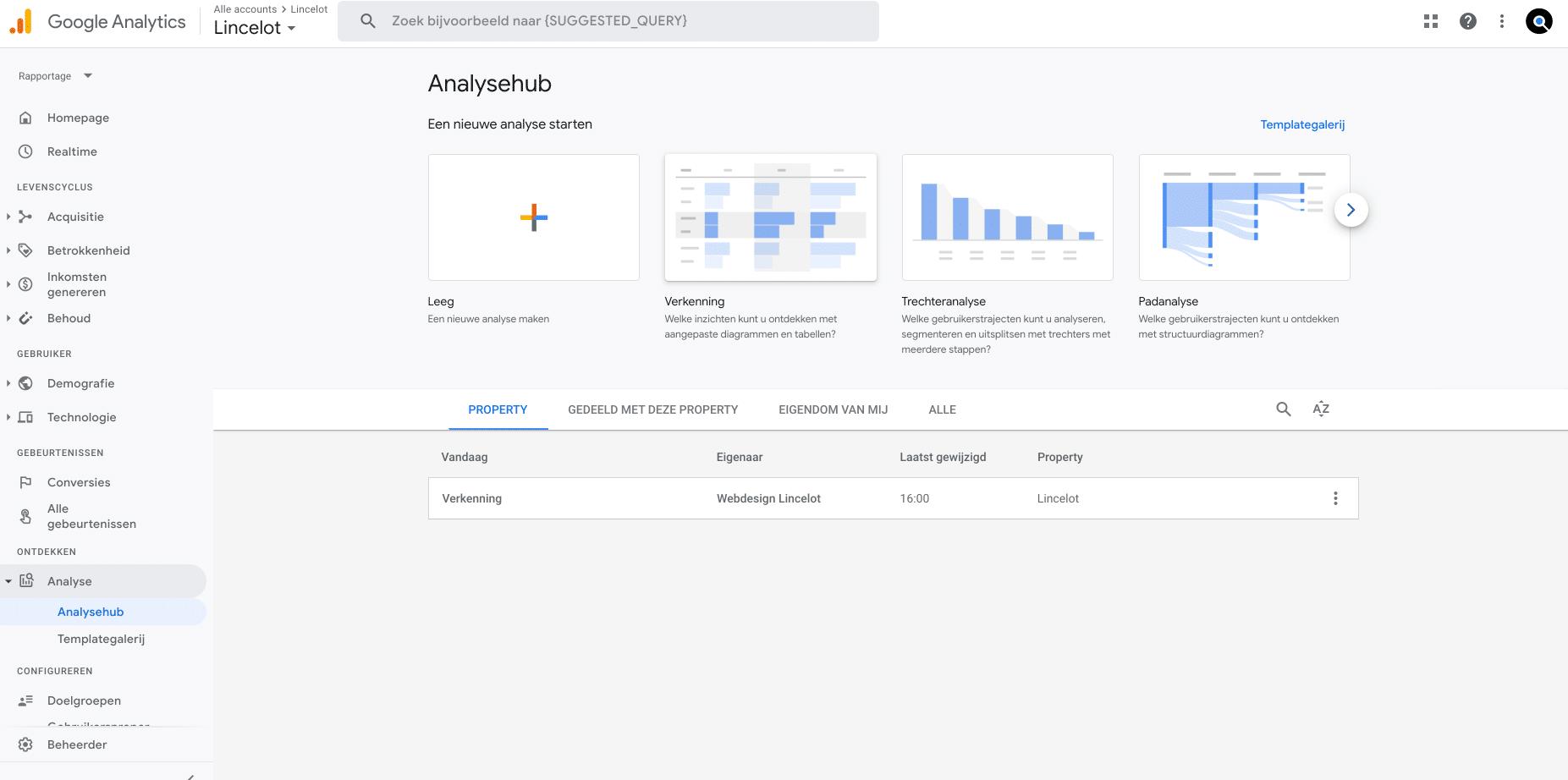 schermafbeelding google analytics 4 - Lincelot - analysehub